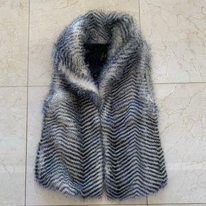 Jack Black/White Zebra Like Fur Vest Sz Small